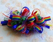 RESERVED Listing for shelze911 Rainbow Loopy Party Bow on a  French Barrette
