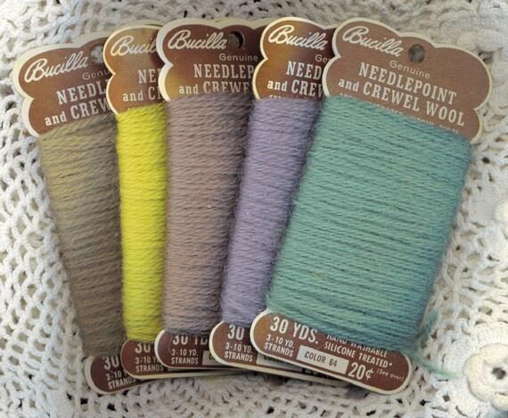 Vintage BUCILLA WOOL YARN 5 Spools Cards Turquoise Purple Browns Needlepoint Crewel
