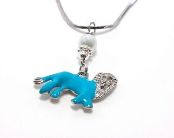 Blue Lion Necklace - Azure Blue and White Lion Charm Necklace - Lion Sorority Jewelry - Leo Jewelry - Greek Sorority Necklace