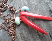 Red coral and blue/green ceramic bead raw copper on copper chain necklace