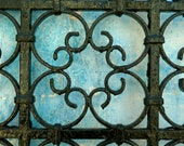 """MOROCCAN PHOTOGRAPHY  - moroccan wrought  - iron gate - blue faded wall - moroccan art - photo print - 5 x 7 """""""