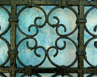 MOROCCAN PHOTOGRAPHY  - moroccan wrought  - iron gate - blue faded wall - moroccan art - photo print - 5 x 7 ""
