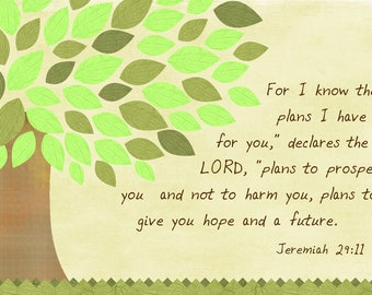Green Tree art canvas with scripture