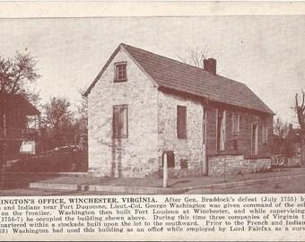 Washington's Office -Winchester, Virginia - Vintage Postcard