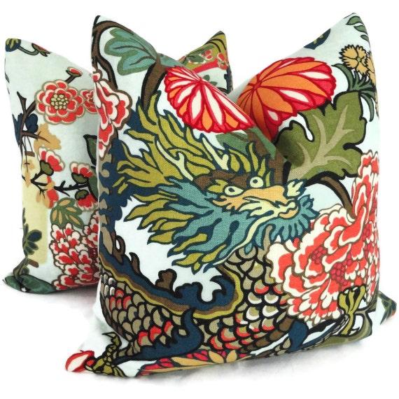 Pair of Aquamarine Schumacher Chiang Mai Dragon Decorative Pillow Covers, Toss Pillow, Accent Pillow, Throw Pillow, Pillow sham