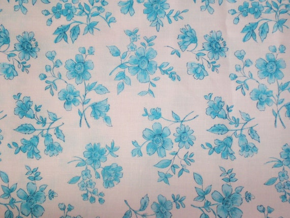 Cotton Fabric Floral Turquoise Blue Pink Fat Quarters (2)