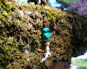 Turquoise and coral copper dangle necklace