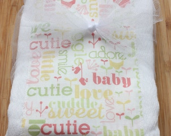 SALE Baby Girl Set of 2 Burp Cloths