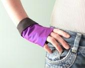 Purple silk fingerless gloves & Swarovski OOAK by Jye, Hand-made in France