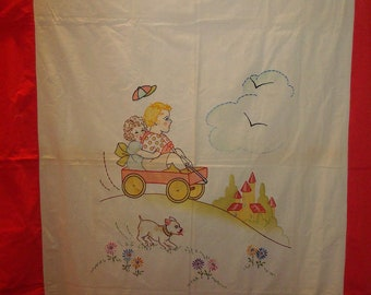 Childrens embroidered wall hangings 1930s