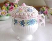 Teacup Pincushion, VINTAGE TEACUP, Handmade Soft Sculpture Handcrafted CharlotteStyle Needlecraft