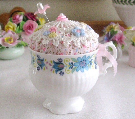 Teacup Pincushion, VINTAGE TEACUP, Handmade Soft Sculpture Handcrafted CharlotteStyle Needlecraft