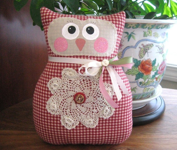 OWL Pillow Owl Doll 9 inch Soft Sculpture Doll Brick Red Check Primitive Handmade CharlotteStyle Decorative Folk Art
