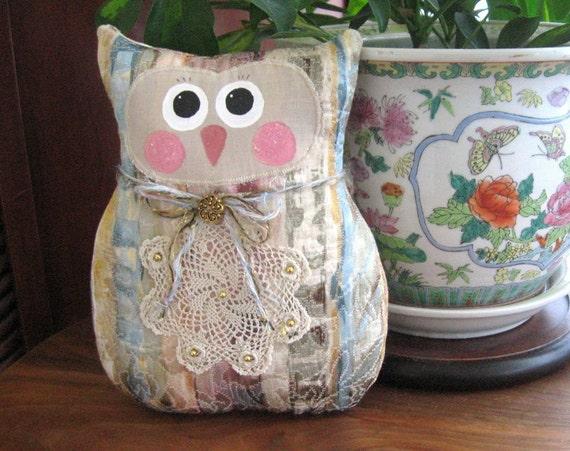 OWL Doll Owl Pillow Owl Doll 9 inch Soft Sculpture Doll DECOR STRIPES Primitive Handmade CharlotteStyle Decorative Folk Art