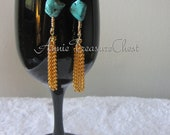 Gold and Turquoise Tassel Dangles