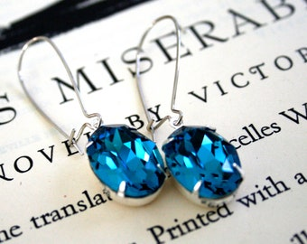 Large Indicolite Swarovski Crystal Earrings, Silver Plated, Kidney Ear Wires, Blue Green, Ocean, Bridal, Wedding, Oval