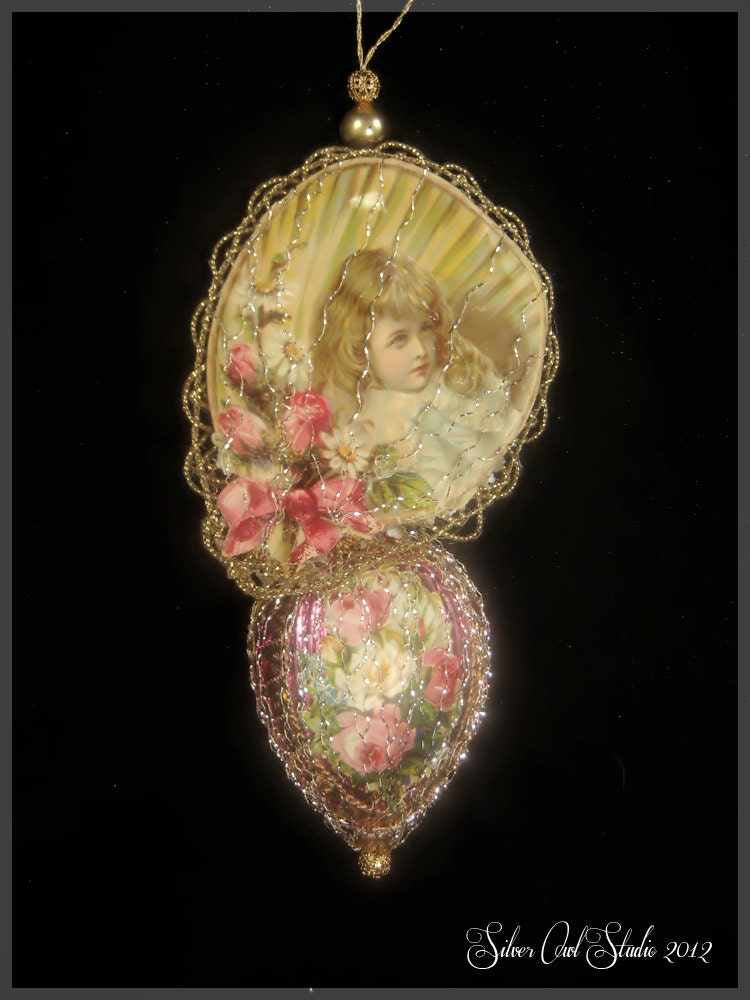 Victorian christmas ornament lace and roses by silverowlstudio