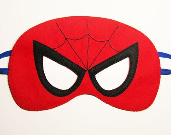 Spiderman felt mask (2 years - adult size) - Red  Black Blue - Superhero Birthday party costume fun soft boys girls Dress up play accessory