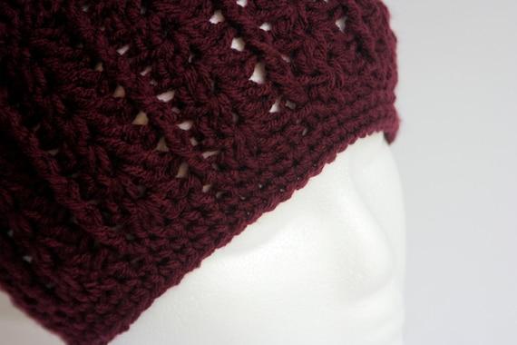 Women's Hat - Burgundy Red Shell Beanie