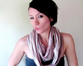 Gauze Infinity Scarf - Wrinkled Cotton Gauze Striped Scarf - Brown, Peach, Red Stripes - Handmade Circle Scarf