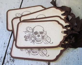 Day of the Dead Skull Tags Set of Six