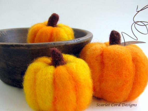 Felted Pumpkins, Fall Harvest, Needle Felted Decorations, Set of Three, Made to Order