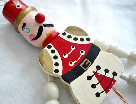 Vintage Hand Painted Wooden Christmas Ornament - Pull Toy Soldier