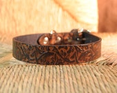 "Embossed Black and Tan Leather Dog Collar.  1"" Width Handmade Collar."