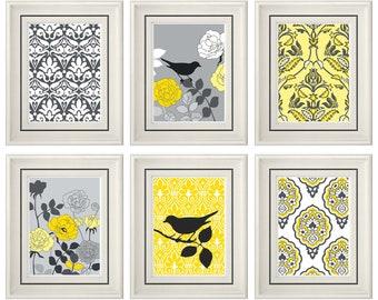 Set of Six Modern Yellow Bird Wall Art - Print Set - Home Decor - 8x11 Print (Unframed)