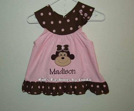 Complete Set-Personalized Pink Gingham/Brown Pink Dots Round Neck Monkey Shirt and Double Ruffle Capris/Pants
