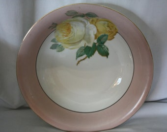 Vintage Large Serving or Decorative Bowl with Two Large Yellow Roses