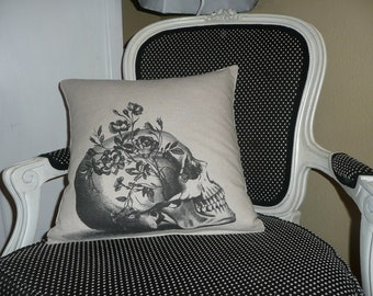 Skull with Wild Roses Pillow Cover