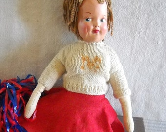 Vintage Cheerleader Doll - Miss Colleen 1950