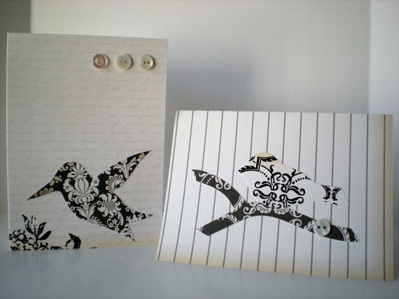Birds 2-Card Set Handmade Notecards Hummingbird Finch Vintage Inspired Ivory Black