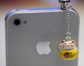 Kawaii LUCKY CAT Bell Iphone Earphone Plug/Dust Plug - Cellphone Headphone Handmade Decorations