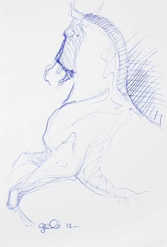 Sketch 178 OOAK Horse Blue Ballpoint Pen Drawing