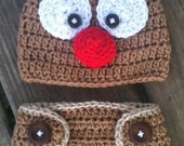 Newborn to 24 Mos Baby Boy or Girl Crochet REINDEER Brown RED Nose Beanie Hat Set -n- Diaper Cover Set -- Cute CHRISTMAS Photo Prop