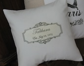 Anniversary Pillow, Pillows, Wedding Pillow, Established Date, Personalized Gift,  Accent Pillow, Decorative Pillows, Black and White