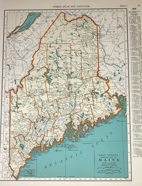 Maine Maine map Maryland Delaware map Vintage maps by booksygirl – Maine Travel Map
