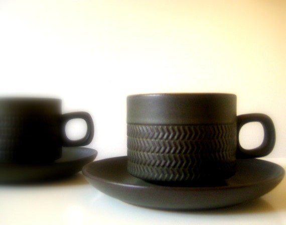 Denby Chevron set of Coffee Cups and Saucers Mid Century Made in England