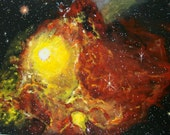 "FREE SHIPPING  Original, acrylic painting of Supernova Explosion in outer space on 16"" x 20"" canvas panel"