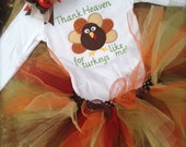 Thanksgiving bodysuit with turkey, tutu, and matching hair bow
