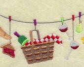 Picnic Basket Clothesline Embroidered Flour Sack Hand/Dish Towel