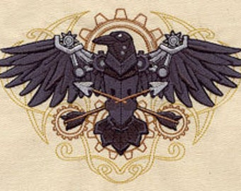 Steampunk Raven with Crossed Arrows Embroidered Flour Sack Hand/Dish Towel