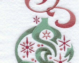 Snowy Christmas Ornament Embroidered Flour Sack Hand/Dish Towel
