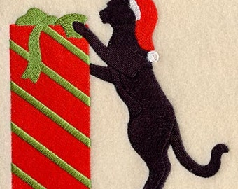 Christmas Present Cat Embroidered Flour Sack Hand/Dish Towel