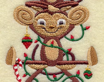 Christmas Monkeys Stack Embroidered Flour Sack Hand/Dish Towel