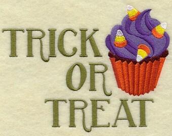 Trick or Treat Halloween Cupcake Embroidered Flour Sack Hand/Dish Towel