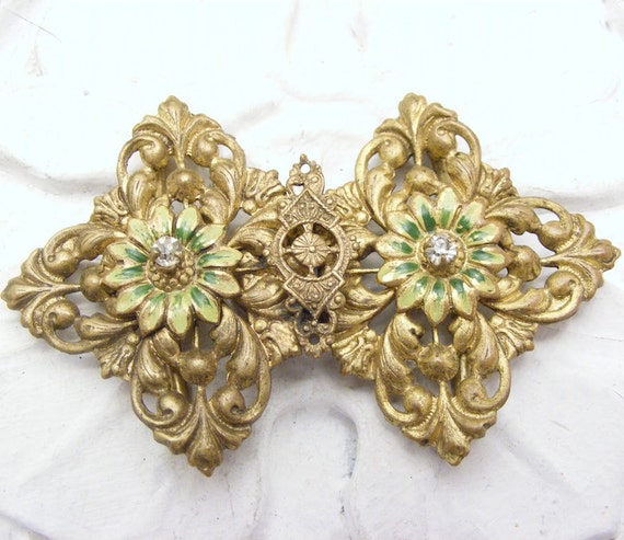 Vintage Brass Filigree Buckle