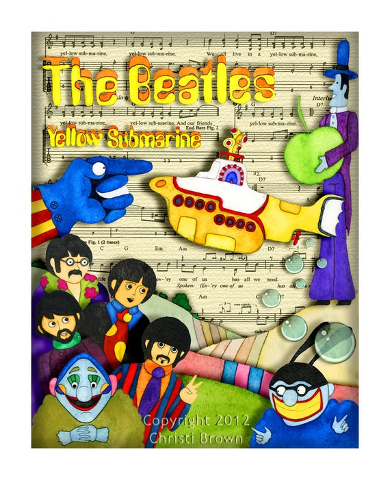 Yellow Submarine Beatles Poster Boys Nursery Decor Rock and Roll Fan Art 13 x 16